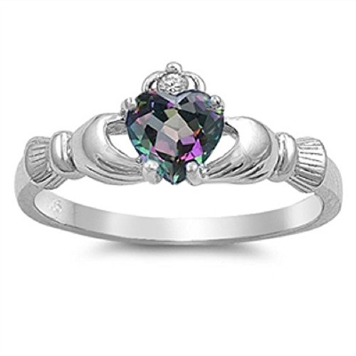 Irish Claddagh Ring: 925 Sterling Silver AAA Quality CZ Heart Promise Ring Sterling Silver Mystic Rainbow Topaz