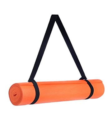 """Yoga Mat with Carrying Sling Eco Friendly Yoga Mat With Extra Thickness Mat for Pilates, Exercises, Aerobics, Yoga 72"""" x 24"""" x 1/4"""", Orange by BAGS FOR LESSTM"""