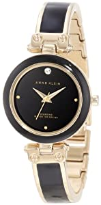 Anne Klein Women's AK/1140BKGB Gold-Tone and Black Resin Bangle Watch with Diamond Accent