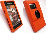 FLASH SUPERSTORE SONY ERICSSON SATIO LCD SCREEN PROTECTOR AND SILICON CASE/COVER/SKIN ORANGE