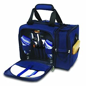 Picnic Time Malibu Insulated Cooler Picnic Tote Service For 2 Navy Blue from Picnic Time