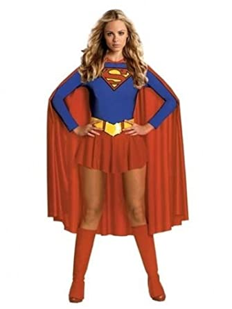 Burlesque - Deluxe Sexy Supergirl Superwoman Fancy Dress Party Outfit High Quality Halloween - S 8 - 10
