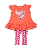 Kidtopia Infant and Toddler Girls Glitter Daisey Heart Print Tunic and Legging Set in Sugar Coral, 18 Months