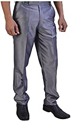Tayal Mart Men's Formal Trousers (Silver, 32)