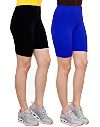 Goodtry Women's Cycling Shorts Pack of 2 Black-Royal Blue