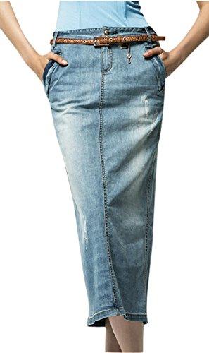 Chouyatou Women's Casual Stretch Waist Washed Denim A-line Maxi Skirt (Small, Light Blue) Denim Maxi Skirt