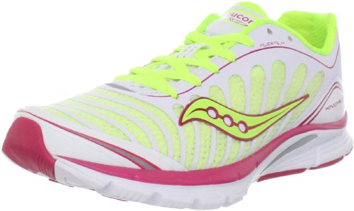 Saucony Women's Progrid Kinvara 3 Running Shoe,White/Citron/Pink,7.5 W US
