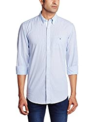 Gant Men's Casual Shirt (8907259568171_GMSIB0034_Large_Blue and White)