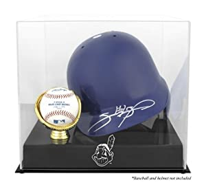 Batting Helmet and Ball Holder Display Case with MLB Team Logo - Cleveland Indians... by Mounted Memories