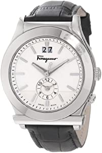 Salvatore Ferragamo Men's F62LDT9902 S009 1898 Quartz Dual Time Black Croco-Print Calfskin Watch by Salvatore Ferragamo