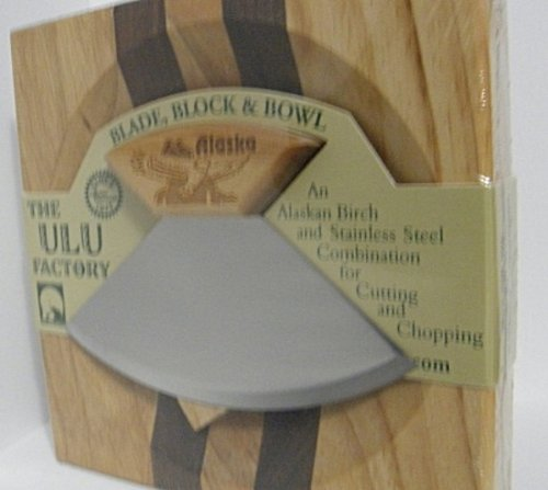 """6.5"""" Block With Deep Dish Chopping Bowl And Ulu Knife With Eagle Etched Handle"""