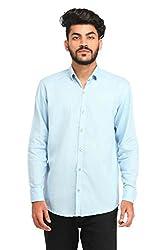 Snoby Sky Blue plain cotton shirt SBY8061