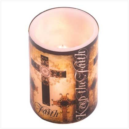 Keep The Faith Inspirational Cross Flameless Led Candle