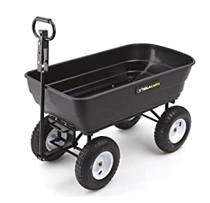 Gorilla Carts GOR108D-14 Poly Garden Dump Cart with 2-in-1 Convertible Handle, 1,000-Pound Capacity, 41.5-Inch by 22.5-Inch Bed, Black Finish