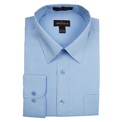 Alberto Danelli Men's Solid Long Sleeve Dress Shirt