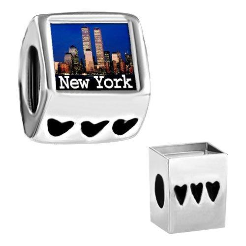 Pugster Travel-New York City Photo Heart Love Bead Fits Pandora Chamilia Biagi Charms Bracelet