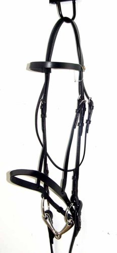 NEW Black Flat Hunt Leather Snaffle Bridle w Laced Rein