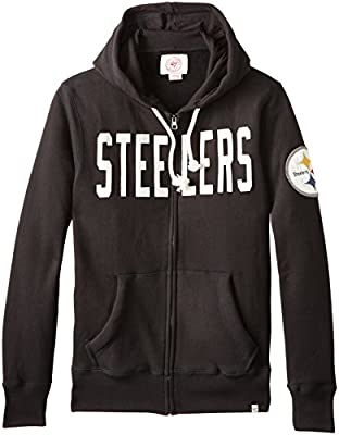 NFL Pittsburgh Steelers Men's '47 Brand Cross-Check Full Zip Hood, Jet Black, Small