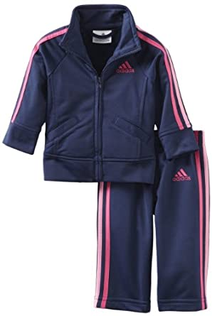 adidas Baby-Girls Infant ITG Iconic Tricot Set, Navy, 3 Months
