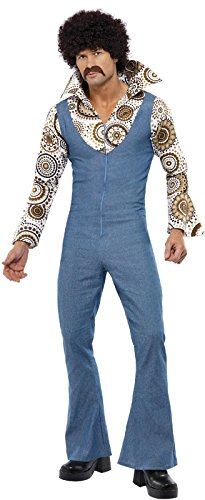 Smiffy's Men's Groovy Dancer Costume Jumpsuit with Attached Mock Shirt