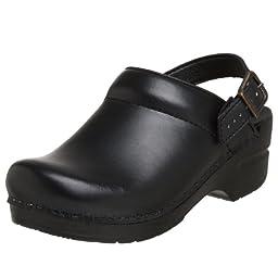 Dansko Women\'s Ingrid Box Leather Clog,Black,38 EU / 7.5-8 B(M) US