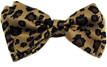Leopard Tuxedo Bow Tie Pre Tied Plastic Clip
