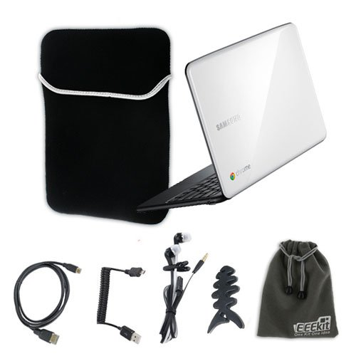 EEEKit for Samsung Chromebook Series 5 Accessory Bundle, Sleeve Soft Case Bag + Universal Earphone + Fishbone Headset Wrap + Micro USB Coiled Cable + Micro HDMI To HDMI Cable + EEEKit Protective Storage Pouch
