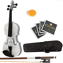 Mendini 1/32 MV Solid Wood White Violin with Hard Case, Bow, Rosin and Extra Strings, White