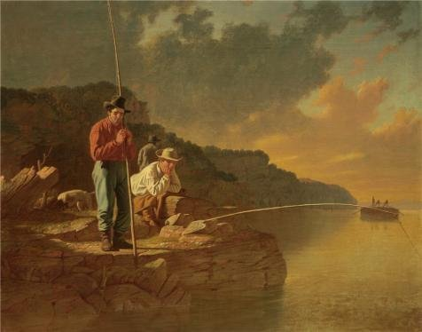 Oil Painting 'George Caleb Bingham,Fishing On The Mississippi,1851' Printing On High Quality Polyster Canvas , 16x20 Inch / 41x52 Cm ,the Best Bathroom Decoration And Home Artwork And Gifts Is This Amazing Art Decorative Canvas Prints