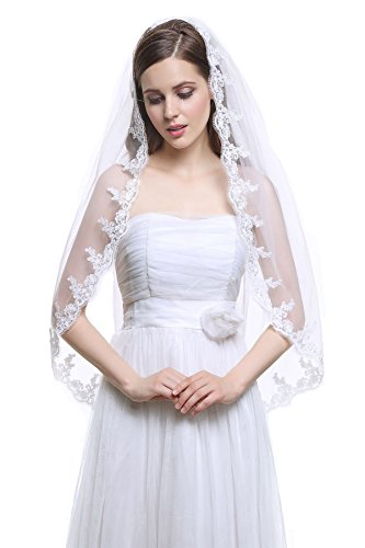 MISSYDRESS 1 Tier Ivory and White Fingertip Tulle Bridal Wedding Veil Applique Edge with Comb-V33-Ivory