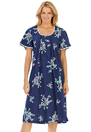 Only Necessities Women's Plus Size Pintucked floral waltz-length gown (DARK
