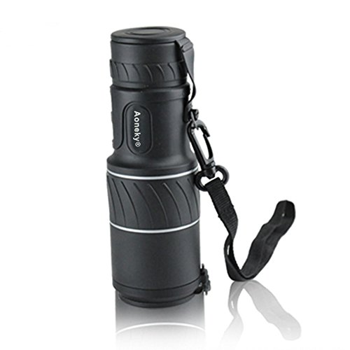 Aoneky 10x 40 Compact Monocular Telescope - High Powered Dual Focus 10X Closer for Hunting Bird Watching with Lens Dust Covers, Black