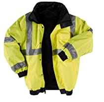 "Neese Viz 9400SJ PVC/Oxford Polyester ANSI Class 3 High Visibility ""Bomber"" Jacket with Removable Hide-Away Hood And Fleece Liner, Elastic Cuff, Lime"