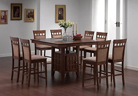 9 Pc Counter Height Dining Table Set Chairs Square