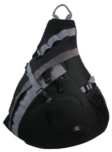 """Hbag 20"""" Sling Backpack Single Strap School Travel Sports Shoulder Bag, Black"""