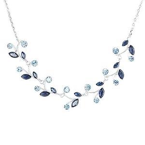 Glamorousky Blue Leaves Necklace with Blue Swarovski Element Crystals (977)