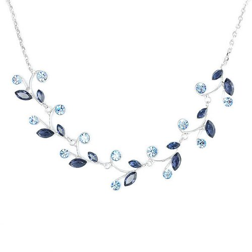 Blue Leaves Necklace with Blue Swarovski Element Crystals image