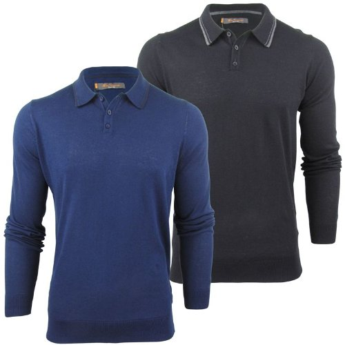 Ben Sherman Mens Knitted Long Sleeved Tipped Polo Shirt
