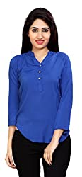 Carrel Brand Imported Cotton Fabric Solid 3/4 Sleeve Top with Button Blue Colour Women XL Size.