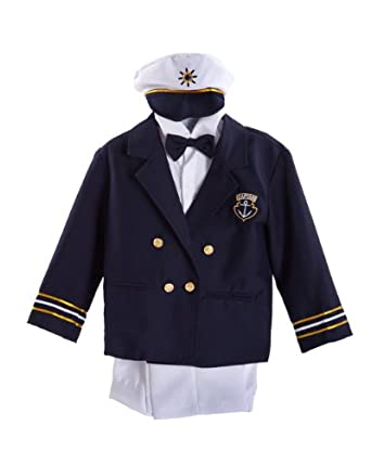 Navy Blue Boys & Baby Boy Captain Sailor Tuxedo Special Occation Suit, White Pants, Jacket, Bowtie, Shirt, Hat