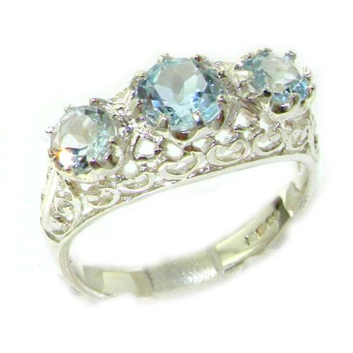 Quality Solid Sterling Silver Genuine Aquamarine English Filigree Trilogy Ring - Size 12 - Finger Sizes 5 to 12 Available - Suitable as an Anniversary ring, Engagement ring, Eternity ring, or Promise ring