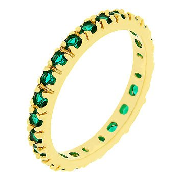 14k Gold Bonded Eternity Ring with Channel Set Emerald Green Cz in Gold Tone Women's Jewelry (9)