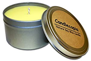 Candlecopia Honeysuckle Jasmine Scented Soy Candle - Bright and lively with just the right amount of softness and warmth - 55 Hours Burn Time in 8-ounce Tin by Candlecopia