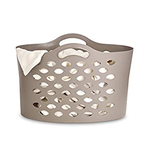 Lakeland Flexible Laundry Washing Basket with Handles 55L - Cappuccino