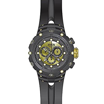 Invicta Venom Chronograph Distressed Metal Finsih Black and Gold Dial Black Silicone Mens Watch 18451