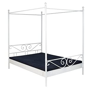 pharao24 metallbett himmelbett weiss 140x200 tommy amazon. Black Bedroom Furniture Sets. Home Design Ideas