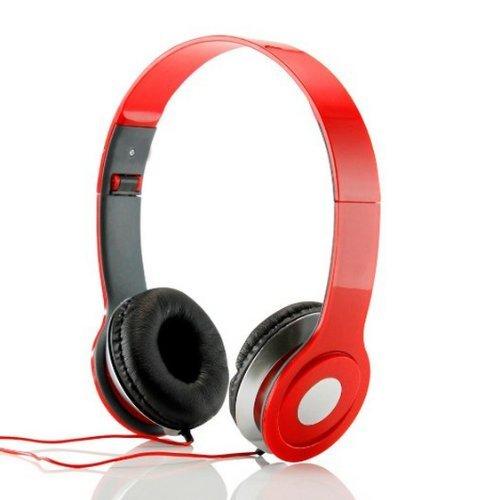 Adjustable Circumaural Red Over Ear Hifi Stereo Earphone Headphone For Phones Laptops Desktops Mp3 Mp4