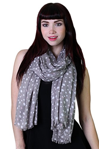 Women's Lady Bug Polka Dots Silky Soft Gray Fashion Scarf / Shawl / Wrap