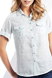 Pure Linen Short Sleeve Stripe Woven Shirt [T41-7005B-S]
