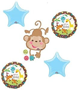 Boy monkey baby shower fisher price 5 piece stars party - Monkey balloons for baby shower ...